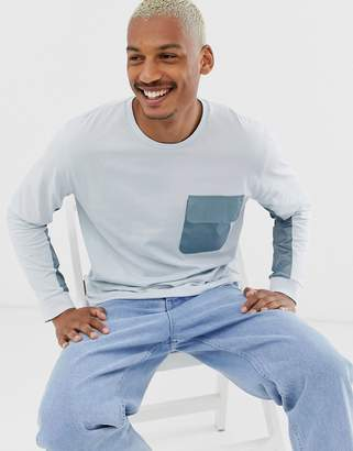 Asos Design DESIGN relaxed long sleeve t-shirt with woven panels in blue