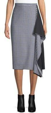 Tibi Gingham Asymmetrical Pencil Skirt