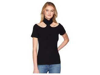 LnA Franklin Rib Top Women's Short Sleeve Pullover