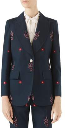Gucci Snake Embroidered Cotton Blazer
