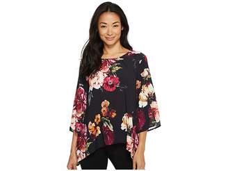 Karen Kane Floral 3/4 Sleeve Top Women's Clothing
