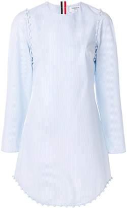 Thom Browne University Stripe Bridal Button Dress In Poplin