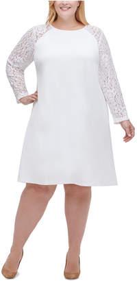 Tommy Hilfiger Plus Size Lace-Sleeve A-Line Dress