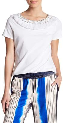 Badgley Mischka Fringe Neck T-Shirt
