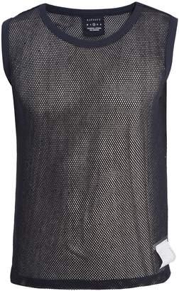 Satisfy Crew-neck cotton-mesh tank top