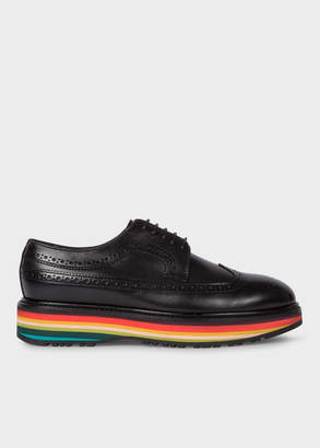 Paul Smith Women's Black Leather 'Grand' Brogues With Striped Soles