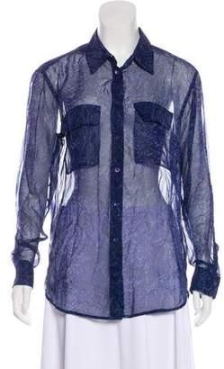 Equipment Silk Long Sleeve Button-Up Blouse