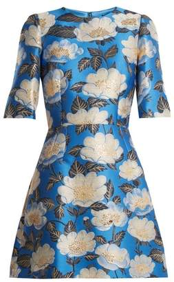 Dolce & Gabbana Floral Jacquard Silk Blend Dress - Womens - Blue Multi