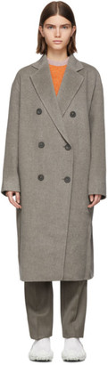 Acne Studios Grey Wool Odethe Double-Breasted Coat