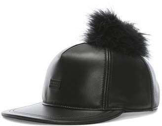 Australia Luxe Collective Co. Touche Black Leather Pom Pom Cap