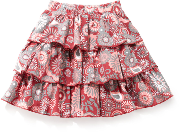 One Kid Flower-Print Tiered Skirt, 4-6X