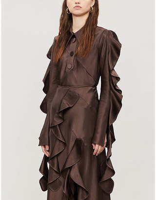 Ellery Obsessed flared-panels satin-crepe shirt