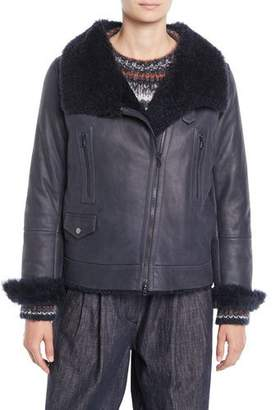 Brunello Cucinelli Zip-Front Leather Shearling Moto Jacket