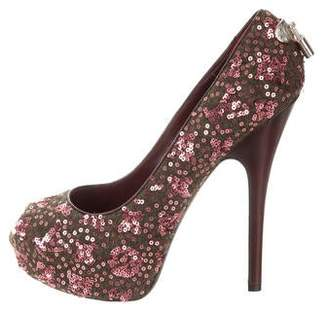 Louis Vuitton Sequin-Embellished Platform Pumps
