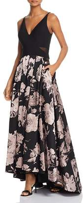 Aqua Printed High/Low Gown - 100% Exclusive