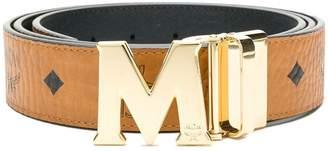 MCM M buckle logo print belt
