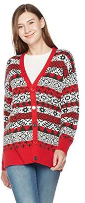 Ugly Fairisle Unisex Adult Jacquard Long Sleeve Vee Neck Button Down Christmas Cardigan L Red/White/Deep Green