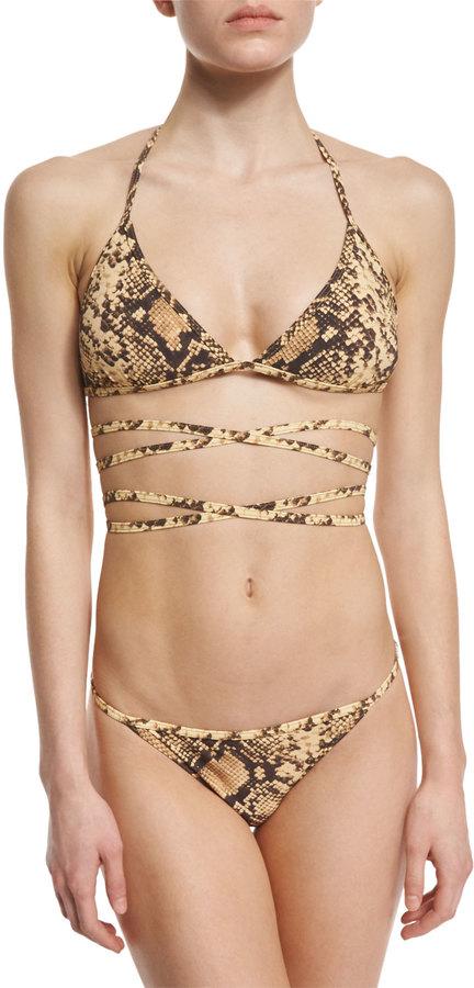 Michael Kors Collection Python-Print Wrap Two-Piece Bikini Set