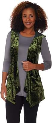 Logo By Lori Goldstein LOGO by Lori Goldstein Panne Velvet Cascade Front Vest w/ Chiffon