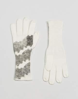 Alice Hannah Alice HannahLace & Snakeskin Print Glove