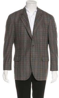 Brunello Cucinelli Wool & Silk-Blend Plaid Blazer