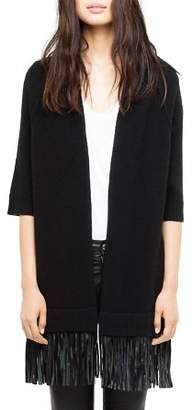 Zadig & Voltaire Paloma Leather-Trimmed Cashmere Cardigan
