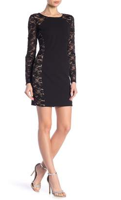 Bebe Lace Illusion Bodycon Dress
