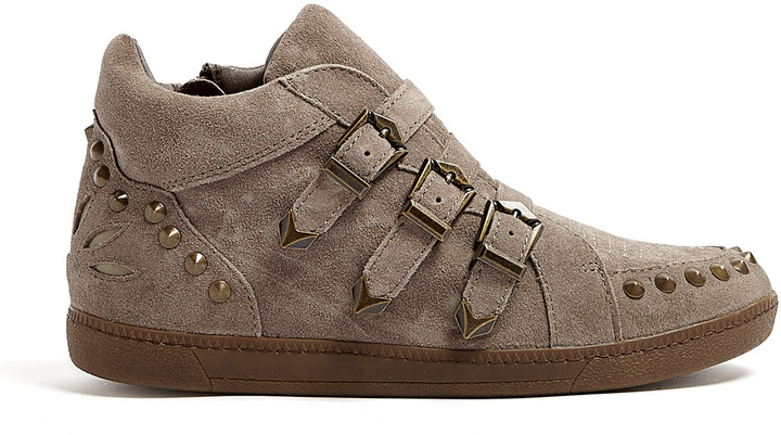 Ash Neutral Suede Studded Buckle Strap Zoo Trainers