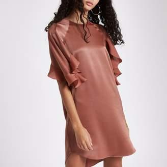 River Island Womens Dark Pink frill sleeve swing dress