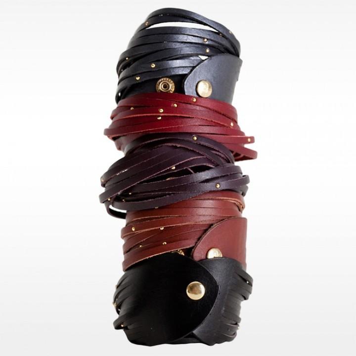 Linea Pelle Double Wrap Sliced and Studded Bracelet