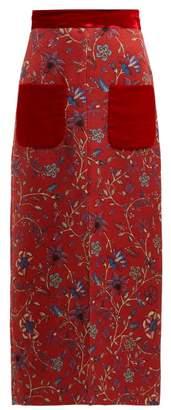 Rebecca De Ravenel - Lily Print Cloque Skirt - Womens - Red Multi