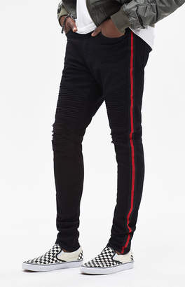 PacSun Stacked Skinny Moto Side Stripe Black Jeans