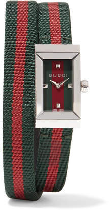 Gucci Striped Canvas, Leather And Stainless Steel Watch - Green
