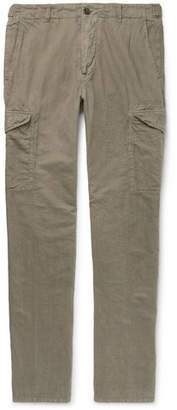 James Perse Slim-fit Garment-dyed Linen And Cotton-blend Cargo Trousers - Green
