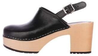 Swedish Hasbeens Leather Slingback Clogs