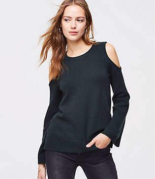 LOFT Cold Shoulder Bell Sleeve Sweater