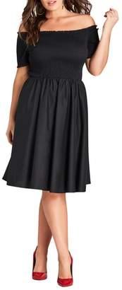 City Chic Smocked Off the Shoulder Midi Dress