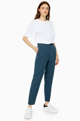 Topshop Womens Blue Straight Leg Suit Trousers - Petrol
