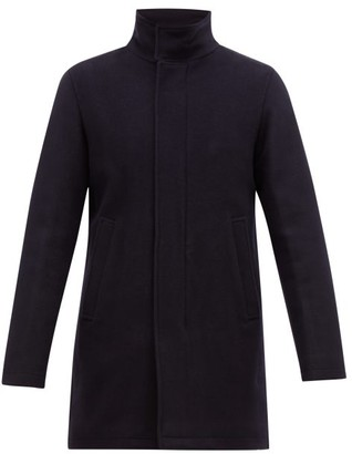 Herno Funnel Neck Wool Blend Overcoat - Mens - Navy