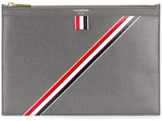 Thom Browne Diagonal Intarsia Stripe Leather Small Tablet Holder