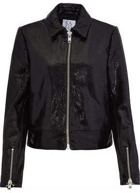 Zoe Karssen Coated Snake-Effect Leather Jacket