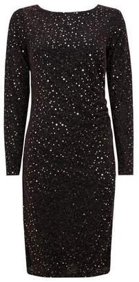 Wallis Black Embellished Ruched Side Midi Dress