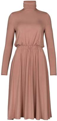 PAISIE - Turtleneck Jersey Dress With Elastic Ruched Waistband In Blush