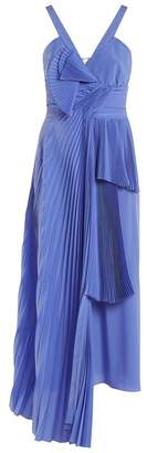 Rochas Draped Front Pleated Silk Crepe De Chine Dress - Womens - Blue