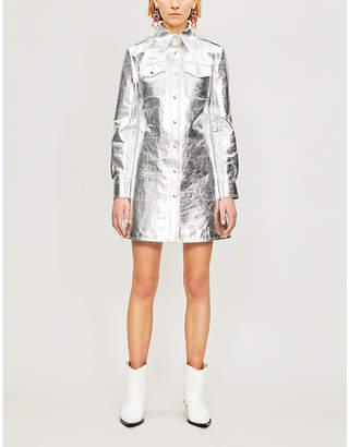 Calvin Klein Collared metallic-leather dress