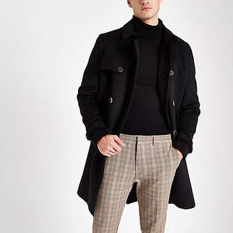 River Island Mens Black belted double breasted trench coat