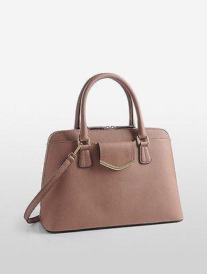 Calvin KleinCalvin Klein Womens Saffiano Leather Satchel Deep Blush