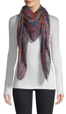Etro Paisley Lilac Leopard-Print Wool& Silk Scarf