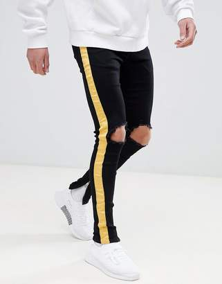 eb19a672 Sixth June super skinny jeans in black with yellow side stripe