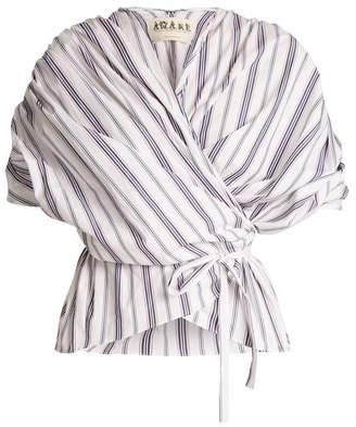 Awake Gathered Striped Cotton Wraparound Top - Womens - White Multi